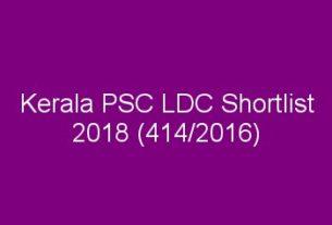 PSC LDC Shortlist 2018