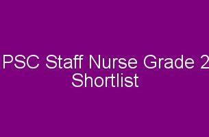 psc staff nurse shortlist
