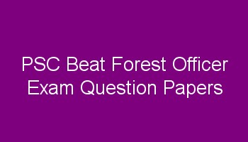 PSC Beat Forest Officer Previous Question Papers