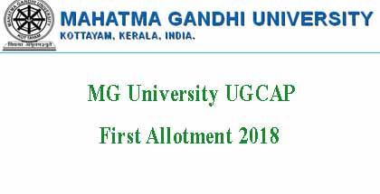 MG University Degree Allotment 2018
