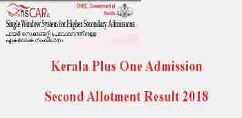 Plus One second aLlotment result 2018