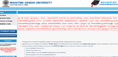 MG University Degree 4th allotment Result 2018