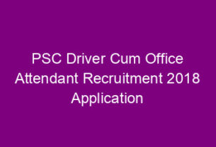 PSC Driver recruitment application 2018