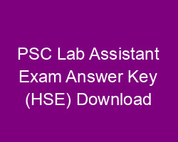 PSC Lab Assistant Exam Answer Key 29-9-2018