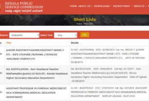 PSC Junior Assistant Shortlist 2019 (KSEB/KSFE/KMML/Malabar Cements